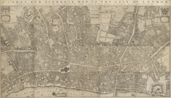 LARGE AND ACCURATE MAP OF THE CITY OF LONDON. Ichnographically describing all the Streets, Lanes, Alleys, Courts, Yards, Churches, Halls and Houses, &c